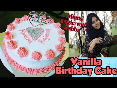 Simple Birthday Cake Recipe & Decoration | Basic Vanilla Sponge Cake Recipe