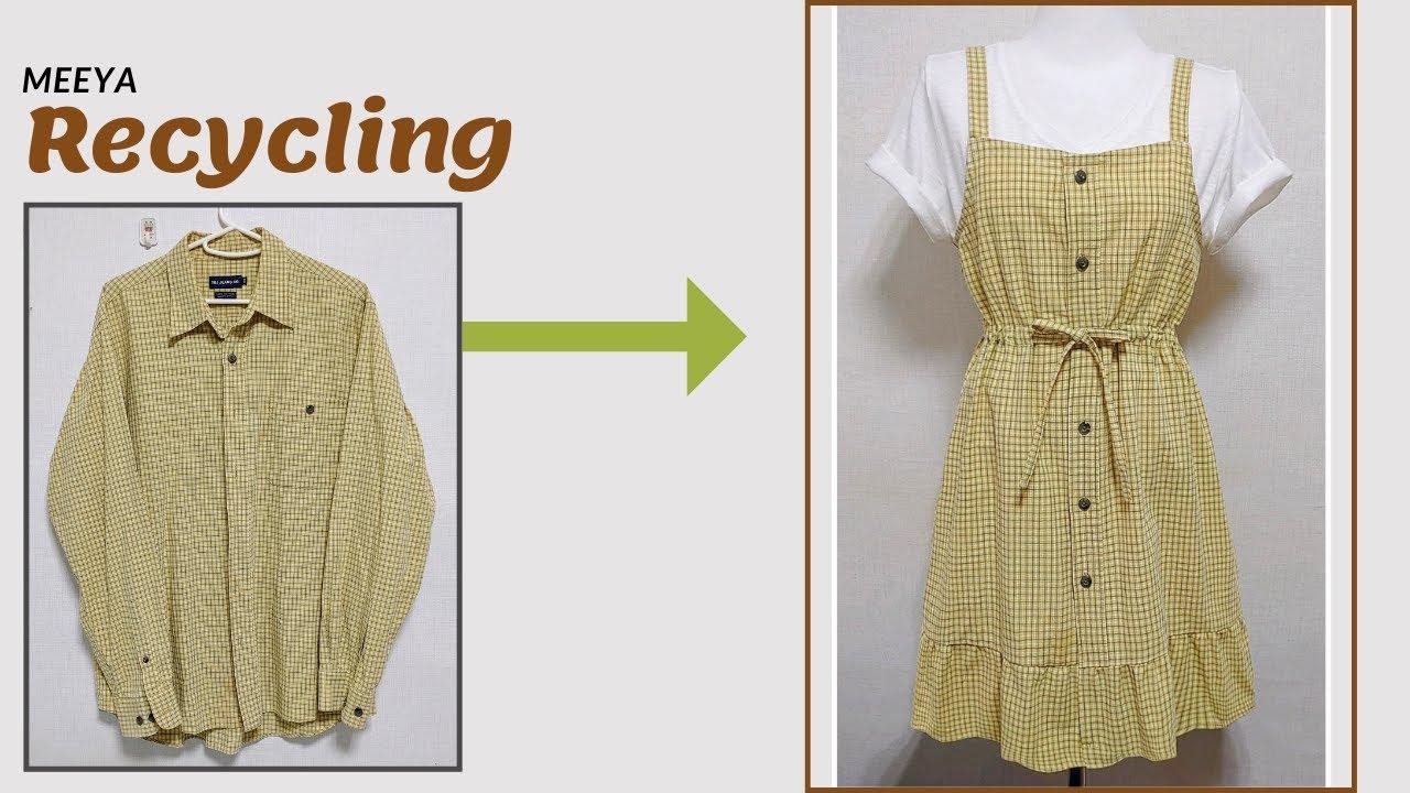 DIY|셔츠 리폼|Recycling a Shirt| Dress|끈원피스|뷔스티에|치마Reform Old Your Clothes|안입는옷|옷만들기|옷수선|skirt|Refashion