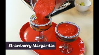 How to Make Strawberry Margaritas ~ Frozen Margarita ~ Amy Learns to Cook