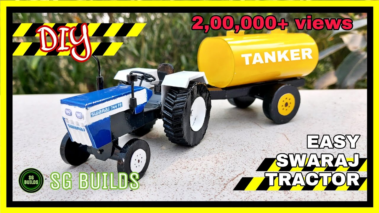 Download HOW TO MAKE TRACTOR SWARAJ 744 FE AND TROLLEY WATER TANK WITH CARDBOARD   BY SG BUILDS