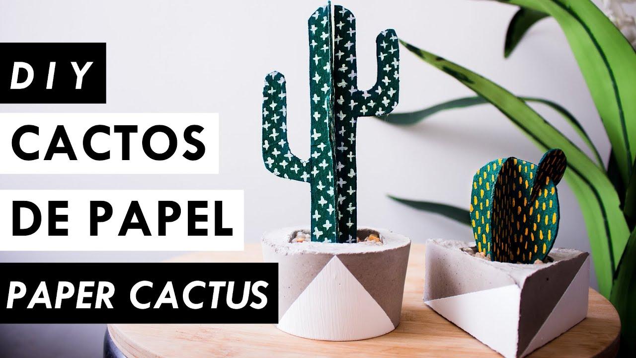 DIY Como fazer Cactos de Papel (Paper Cactus) Decoração estilo  #9E572D 1920x1080
