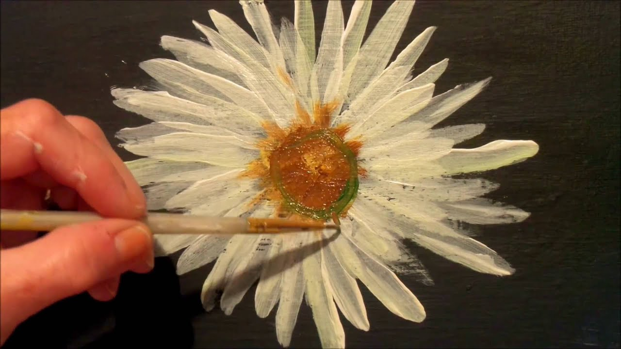 How To Paint A Daisy With Acrylic Paint Easy Step By Step Tutorial