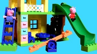 Peppa Pig Playhouse Blocks Playground Park With See-saw & Slide - Juego Casa De Peppa Parco Giochi