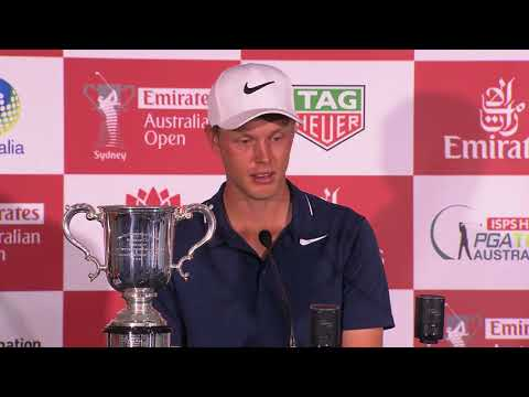 Cameron Davis chats after winning the 2017 Emirates Australian Open