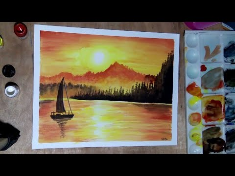 How To Draw A Simple Natural Scenery With Poster Colour