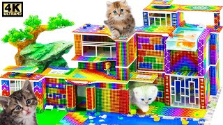 Pets House  Build Kitty Mansion House and Swimming Pool For Cats From Magnetic Balls ( Satisfying )