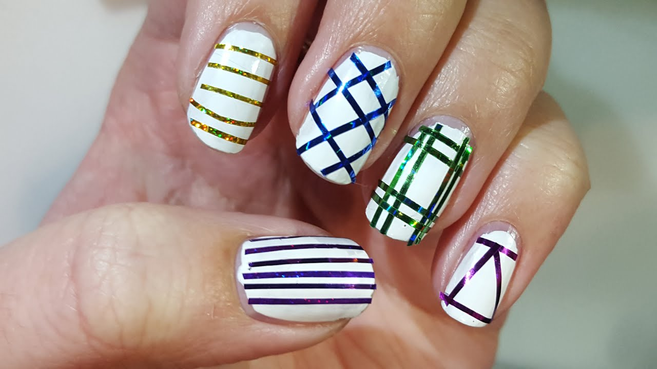Nail art for beginners #8 | 5 Easy Striping tape nail ...