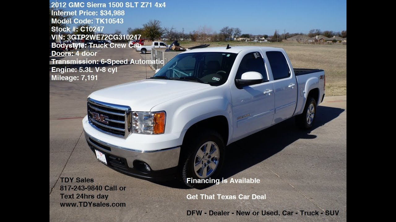for sale 2012 gmc sierra z71 4x4 1500 slt truck crew cab has only 7k miles youtube. Black Bedroom Furniture Sets. Home Design Ideas