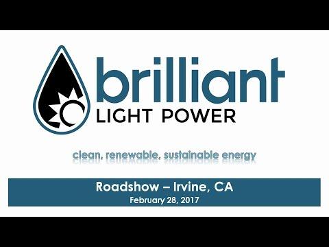 Brilliant Light Power's February 28th, 2017 Irvine, CA Roadshow