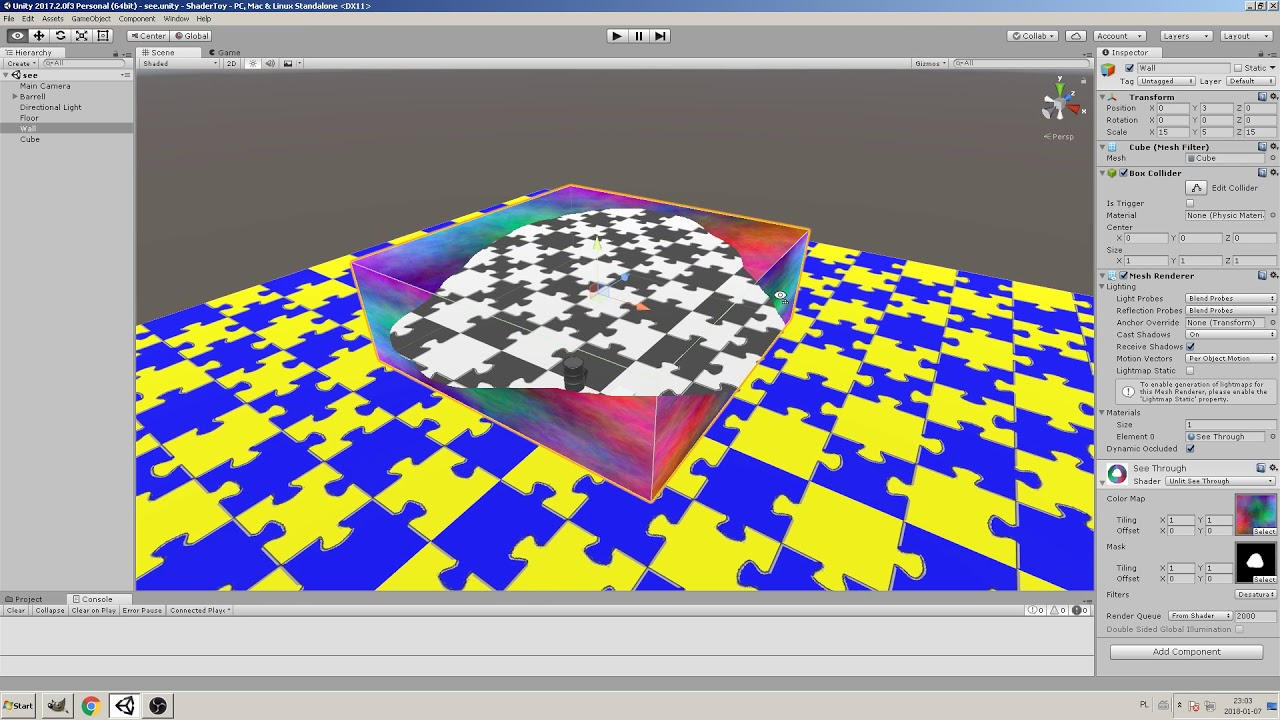 Unity see-through-objects shader (source code)