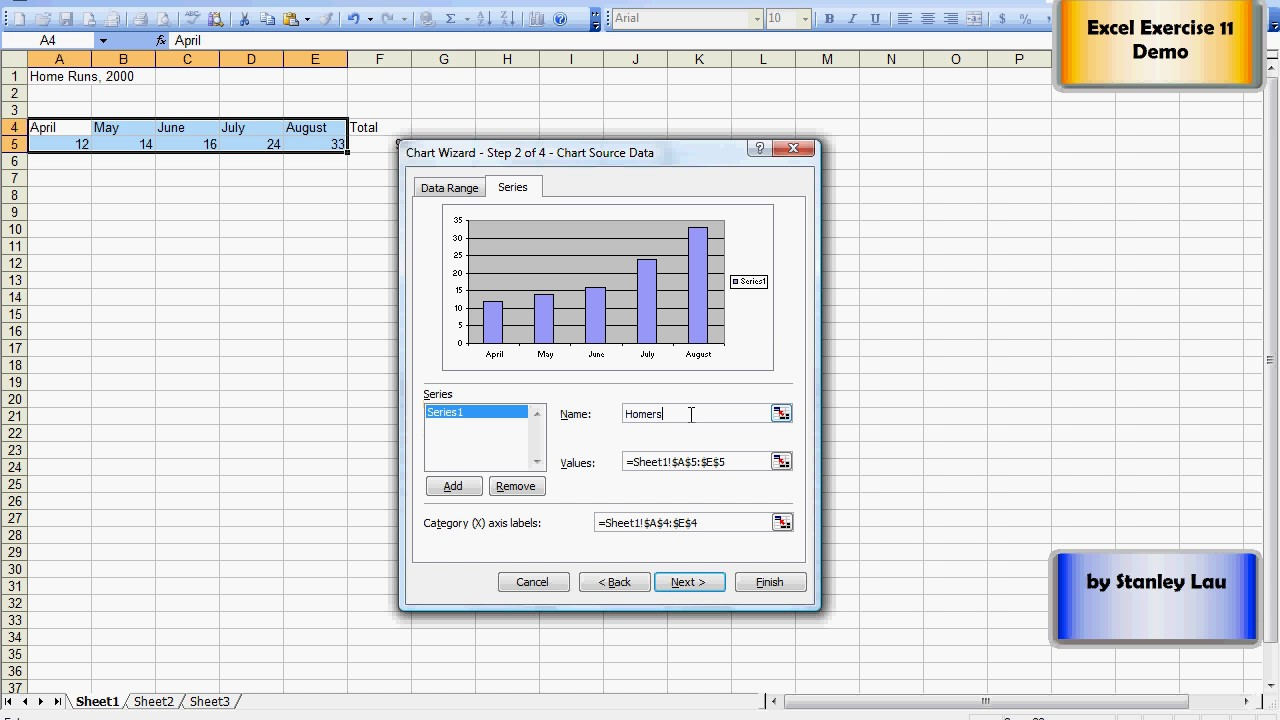 Excel adding  chart using wizard also youtube rh
