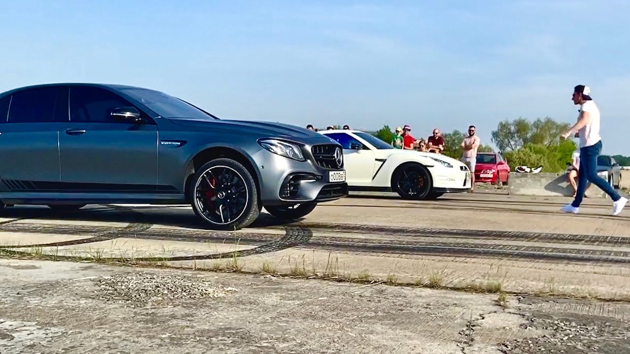 Это ВЗРЫВ! E63s AMG vs GT-R st 2 | Mercedes-Benz vs Nissan + moto Ducati Panigale - 1/4 miles versus