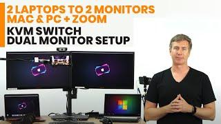 KVM Switch Dual Monitor Setup – 2 Laptops to 2 Monitors – Mac & PC + Zoom