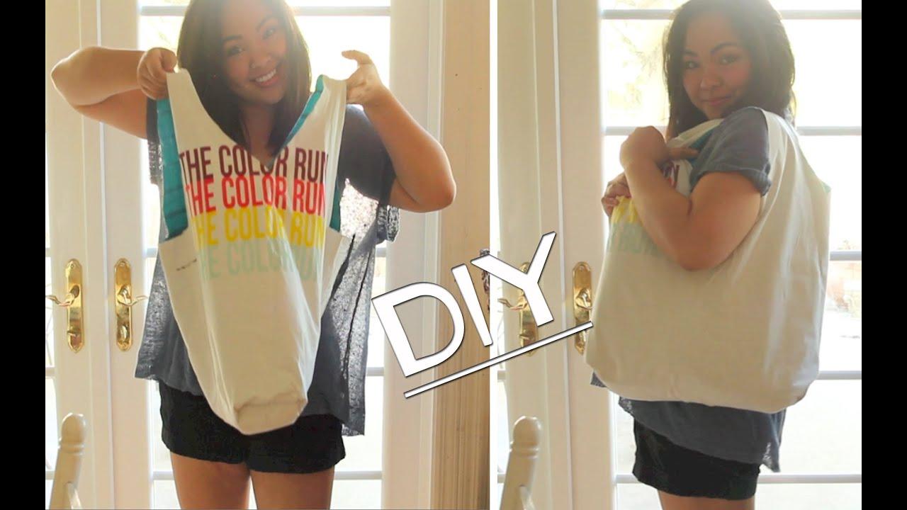 DIY! T-Shirt Tote Bag *No Sew* - YouTube
