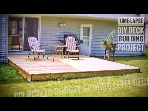 Diy deck time lapse building a ground level deck youtube 16x16 deck material list