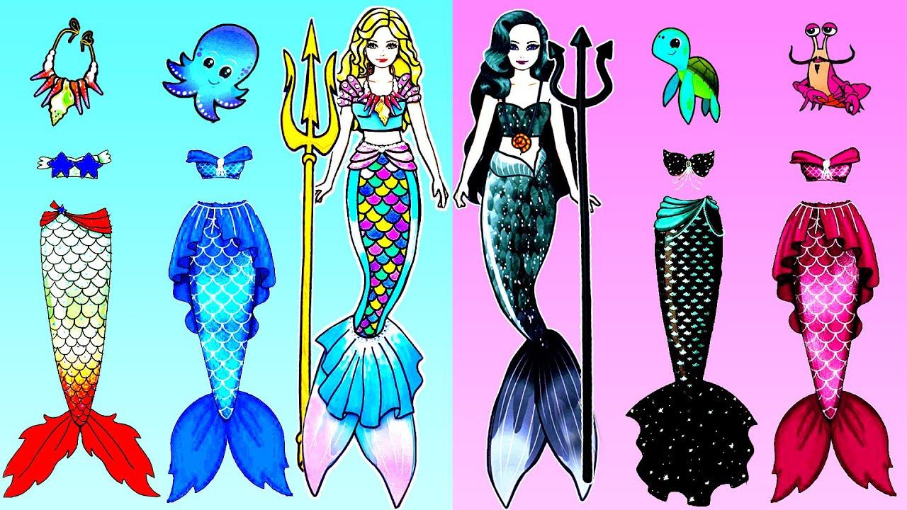 Paper Dolls Dress Up - GOOD vs BAD Mermaid Dresses Handmade Paper Craft - Barbie Story & Crafts
