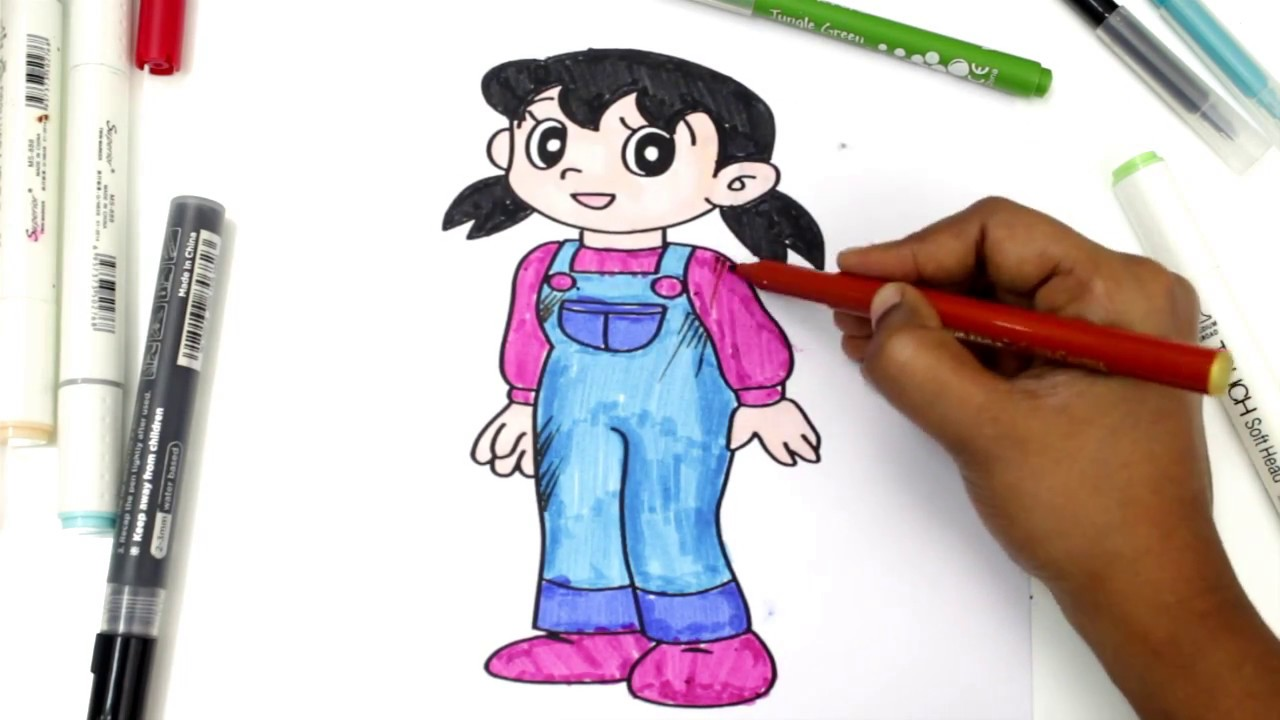 Colouring Pages For Kids With Shizuka In Doraemon Cartoon Maainan Doraemoon Kyutt To Learn Colors