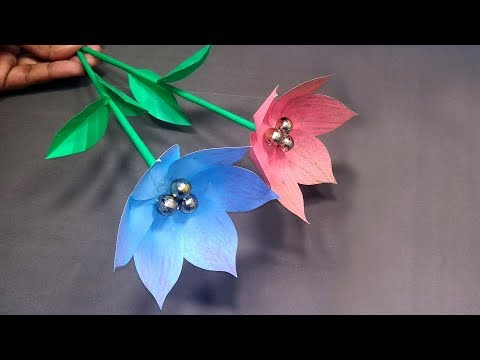 How to Make Easy & Beautiful DIY Paper Stick Flower Making for Home!! Abigail Paper Crafts