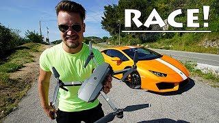 200mph Lamborghini VS 50mph Drone Race!!!