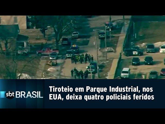 Tiroteio em Parque Industrial, nos EUA, deixa quatro policiais feridos | SBT Brasil (15/02/19)