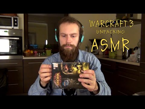 ASMR Warcraft 3 unpacking (Crinkle sounds combined with tapping, scratching and whispering)