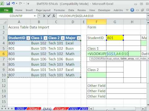 Excel Magic Trick 571: VLOOKUP To Create Form from Access Linked ...