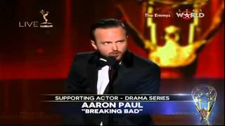 EMMYS 2014 - Aaron Paul WINS EMMY AWARD FOR SUPPORTING ACTOR IN A DRAMA SERIES [HD]