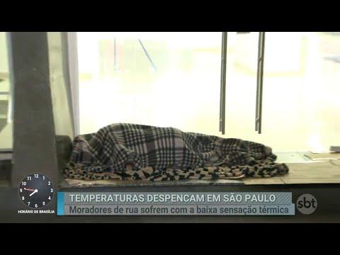 Moradores de rua sofrem com as baixas temperaturas em São Paulo | Primeiro Impacto (27/08/18)