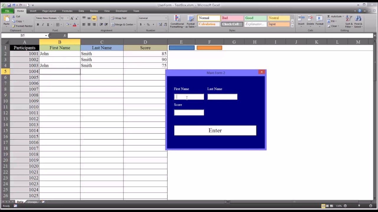 Adding Data to an Excel Worksheet using TextBox Controls on a VBA UserForm