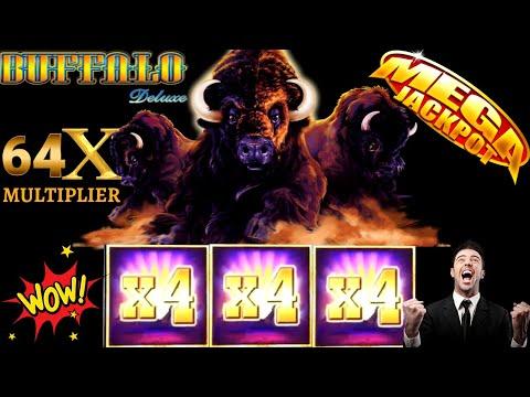 Buffalo Deluxe Slot Machine 64x Multiplier ☆MEGA HANDPAY JACKPOT☆ $10 Max Bet  Buffalo HUGE HANDPAY