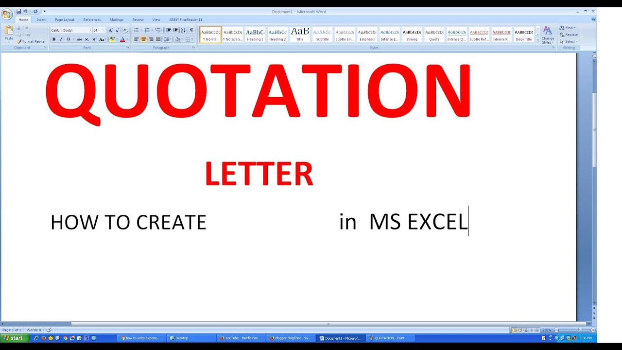 MICROSOFT EXCEL HOW TO MAKE QUOTATION LETTER with SUBJECT COLUMN ...