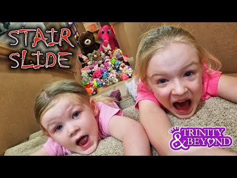 Ultimate Stair Slide Stuffed Animal Scavenger Hunt into HUGE Box Fort!!
