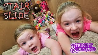 Ultimate Stair Slide Stuffed Animal Scavenger Hunt into HUGE Box Fort!!