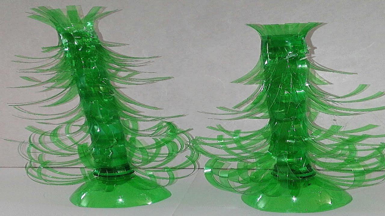 Como hacer arbol de navidad con botellas de plastico - Como hacer cosas de navidad ...