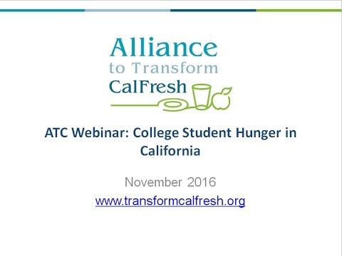 Alliance to Transform CalFresh Webinar: College Student Hunger in California