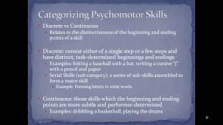 HRD 411 Psychomotor Learning