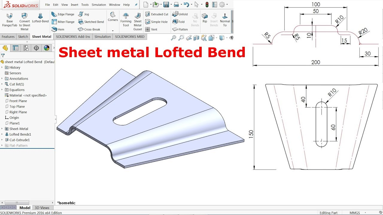 Solidworks Sheet Metal Lofted Bend Youtube