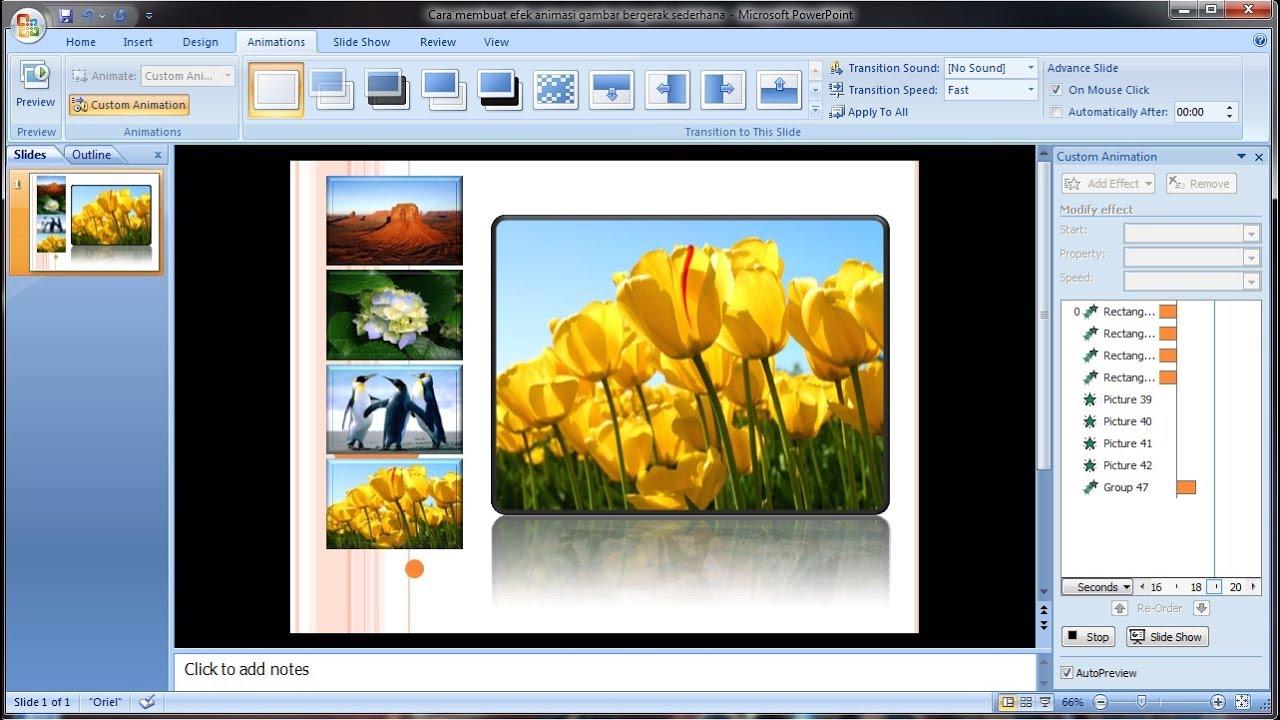 Tutorial Powerpoint 2007 Cara Membuat Efek Animasi Picture Gambar Bergerak Sederhana Youtube