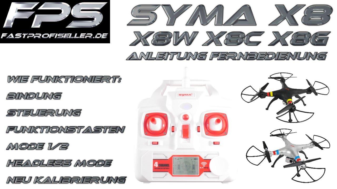 SYMA X8W X8C X8G FPS Anleitung Fernbedienung Deutsch Steuerung ...