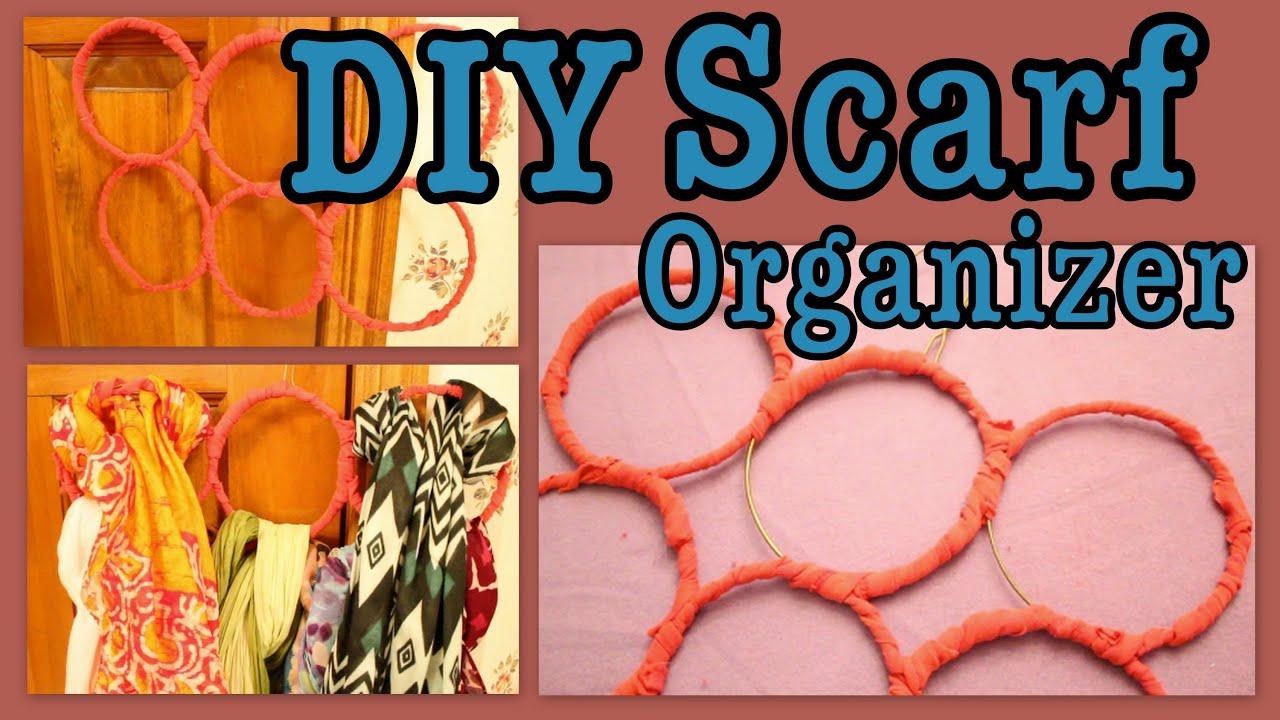 sc 1 st  YouTube & DIY: Hanging Scarf Organizer! - YouTube
