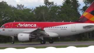 avianca A318 N592EL take off run at  aeropuerto Yariguíes de barrancabermeja colombia