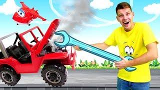 Видео для детей Веселая школа с Кириллом. Учим рабочие машинки для мальчиков