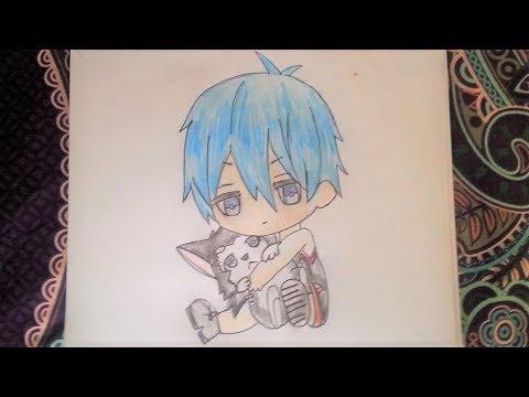 How to draw a cute anime boy holding a husky (Anime and ...