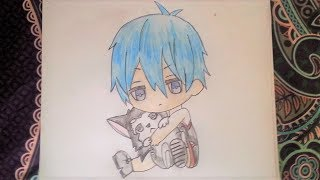 How to draw a cute anime boy holding a husky (Anime and chibi style) - Easy and quick - DiyaCake