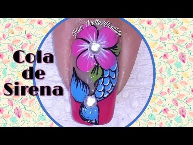 Decoración de uñas de moda flor y cola de sirena