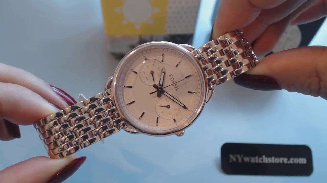 Womens Rose Gold Fossil Tailor Multi Function Steel Watch ES3713