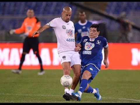 Diego Maradona Kicked off at Juan Sebastian Veron During Game for Peace