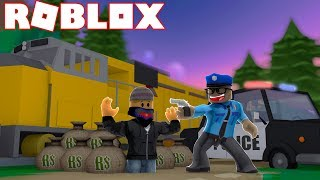 ARRESTING CRIMINALS ROBBING THE NEW TRAIN IN ROBLOX JAILBREAK - Winter Update