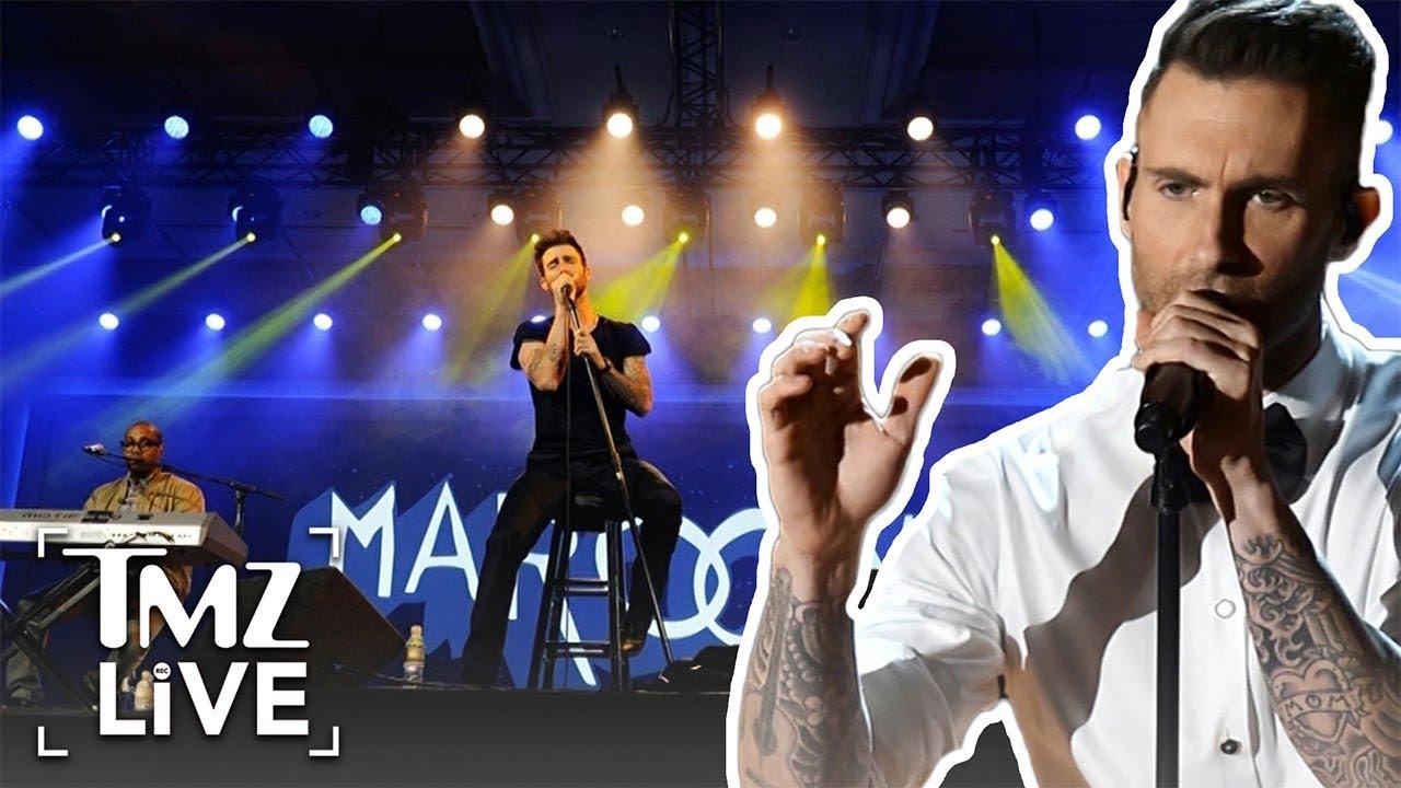 fan rushes adam levine during maroon 5 concert tmz live youtube. Black Bedroom Furniture Sets. Home Design Ideas
