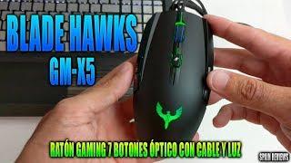 Blade Hawks - Ratón gaming 7 botones óptico con cable y luz